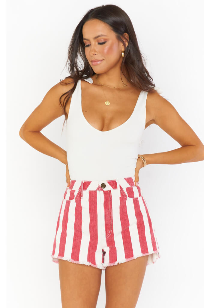 Show Me Your Mumu Arizona High Waisted Shorts-Candy Stripe