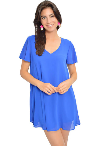 Flutter Sleeve Dress - Cobalt