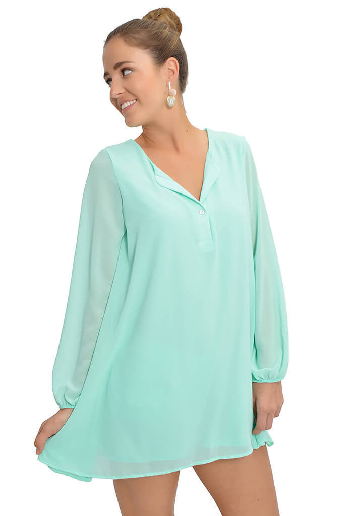 Adrienne Chelsea tunic dress in mint-front
