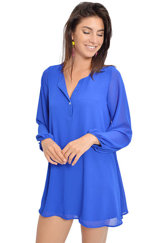 Chelsea Tunic Dress - Cobalt