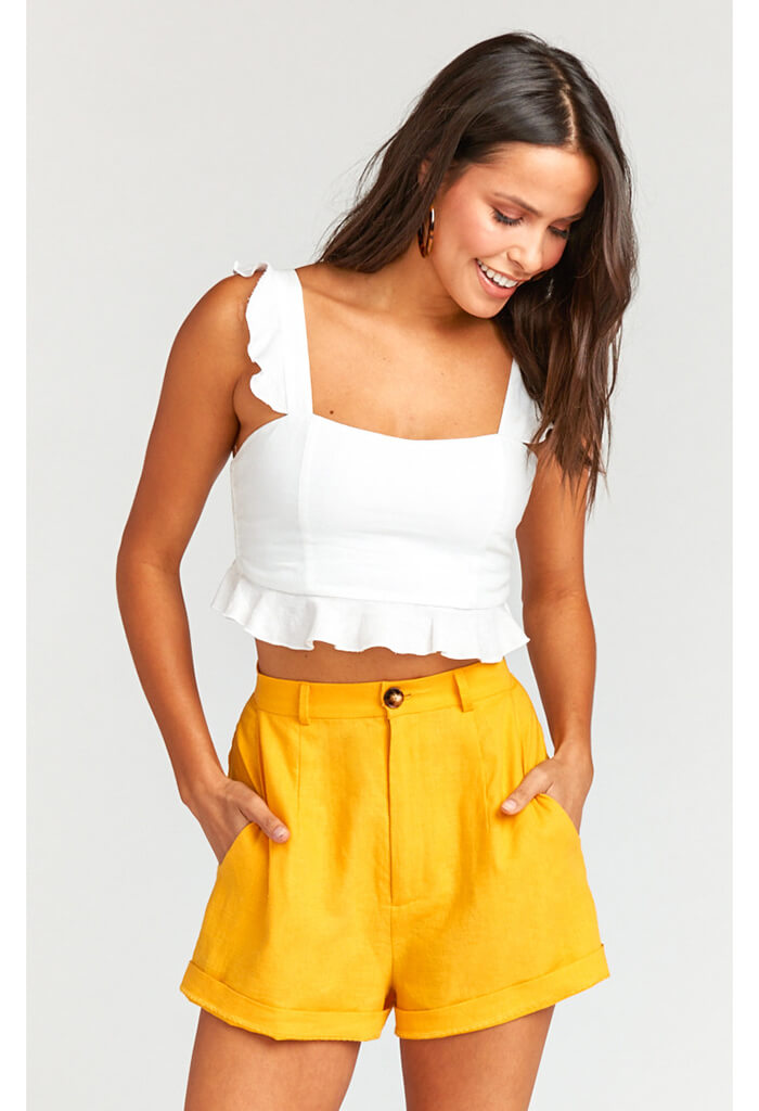Stewart Shorts ~ Canary Yellow Linen
