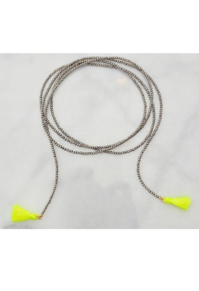 Mere Feathered Metal Necklace - Neon Yellow