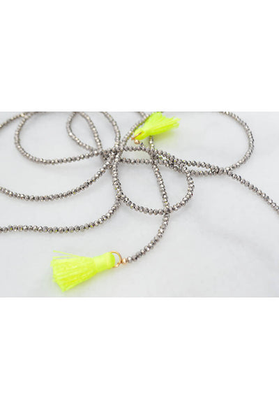 Feathered Metal Necklace - Neon Yellow
