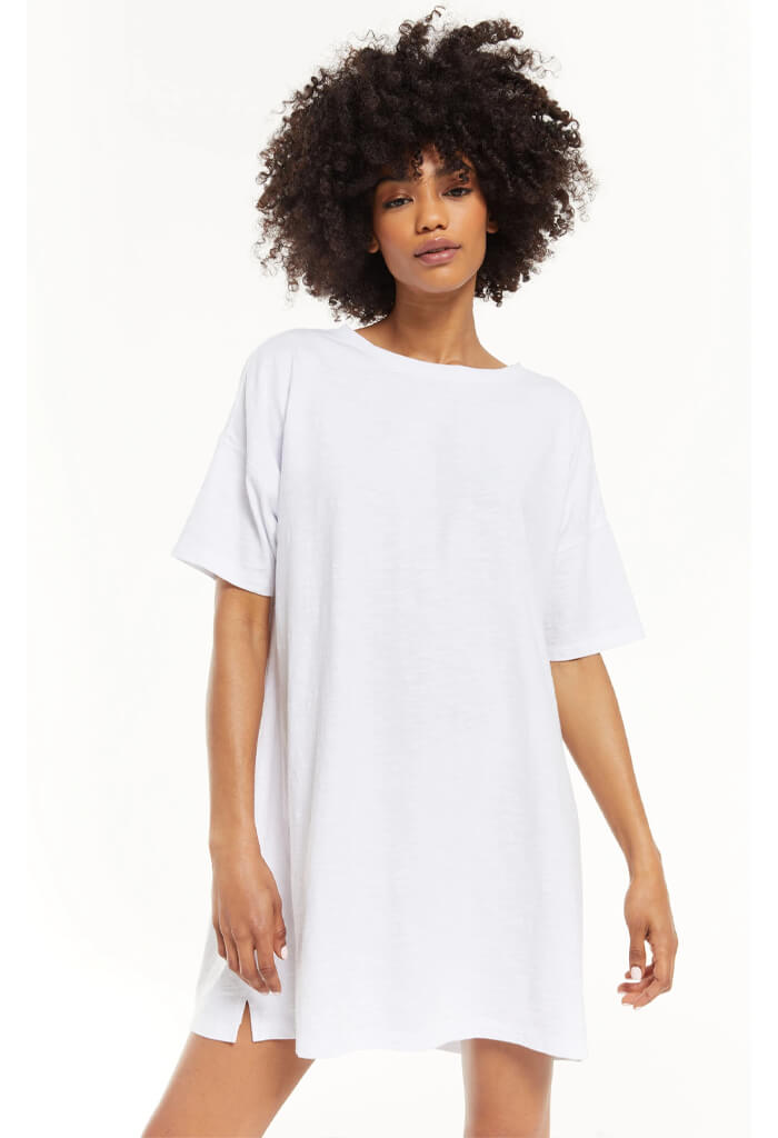 Z Supply Delta Slub T-Shirt Dress-White