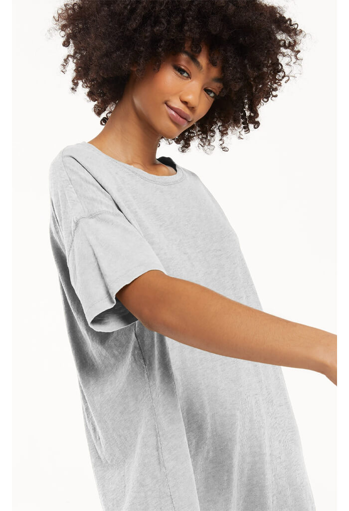 Z Supply Delta Slub T-shirt Dress-Heather Grey