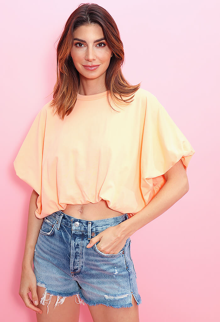 KK Bloom Dana Cropped Tee-Orange