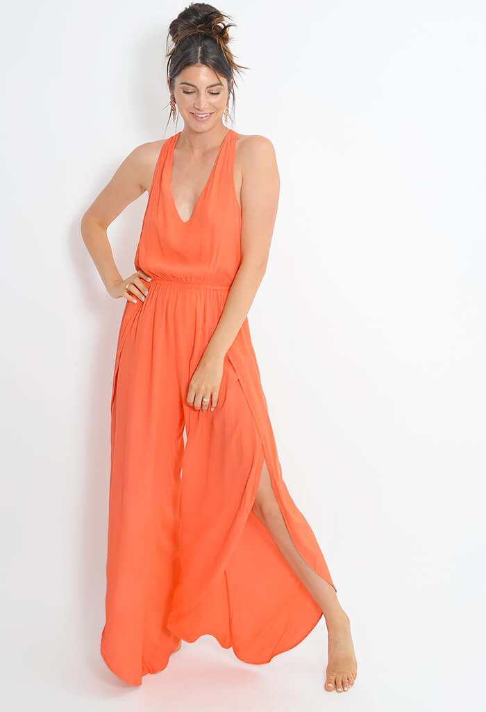Camaro Jumpsuit - Hot Coral