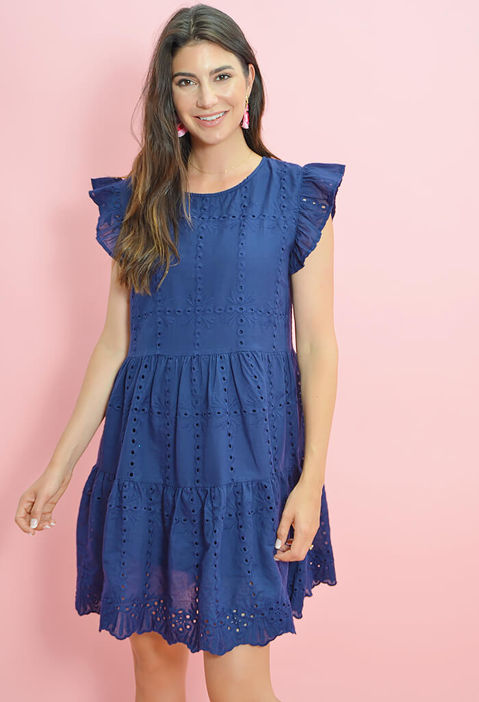 Let it Bloom Dress-Navy
