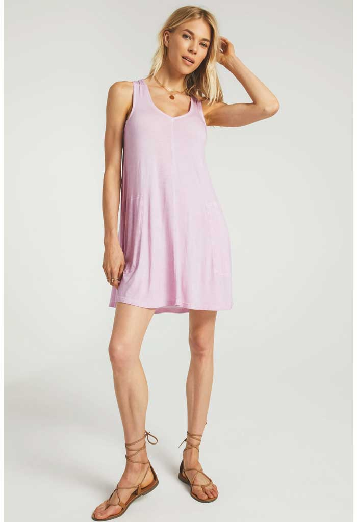 Bay V-Neck Dress-Lavender
