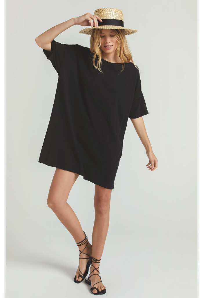 Delta Slub Dress-Black