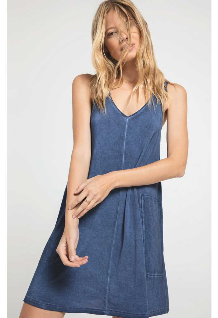 Bay V-Neck Dress-Indigo