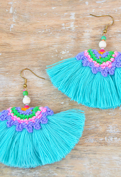 Rainforest Tassel Earring - Teal