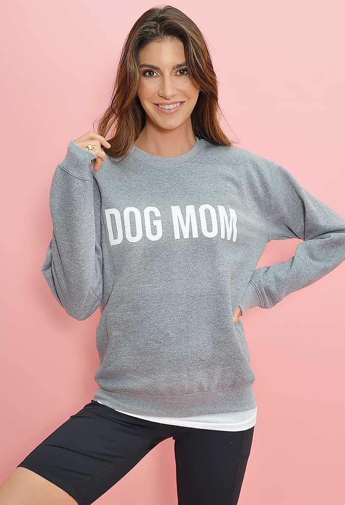 Dog Mom Sweatshirt-Grey