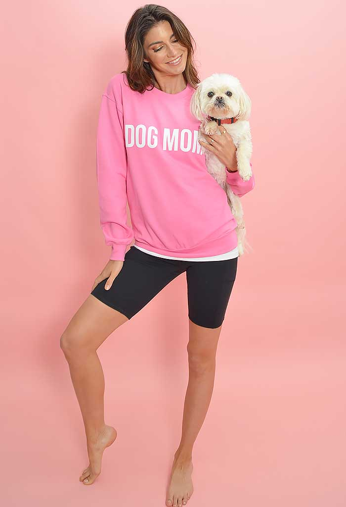 Dog Mom Sweatshirt-Pink