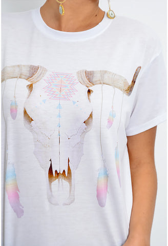 Coalson Tee - Feather Drop Bull Graphic