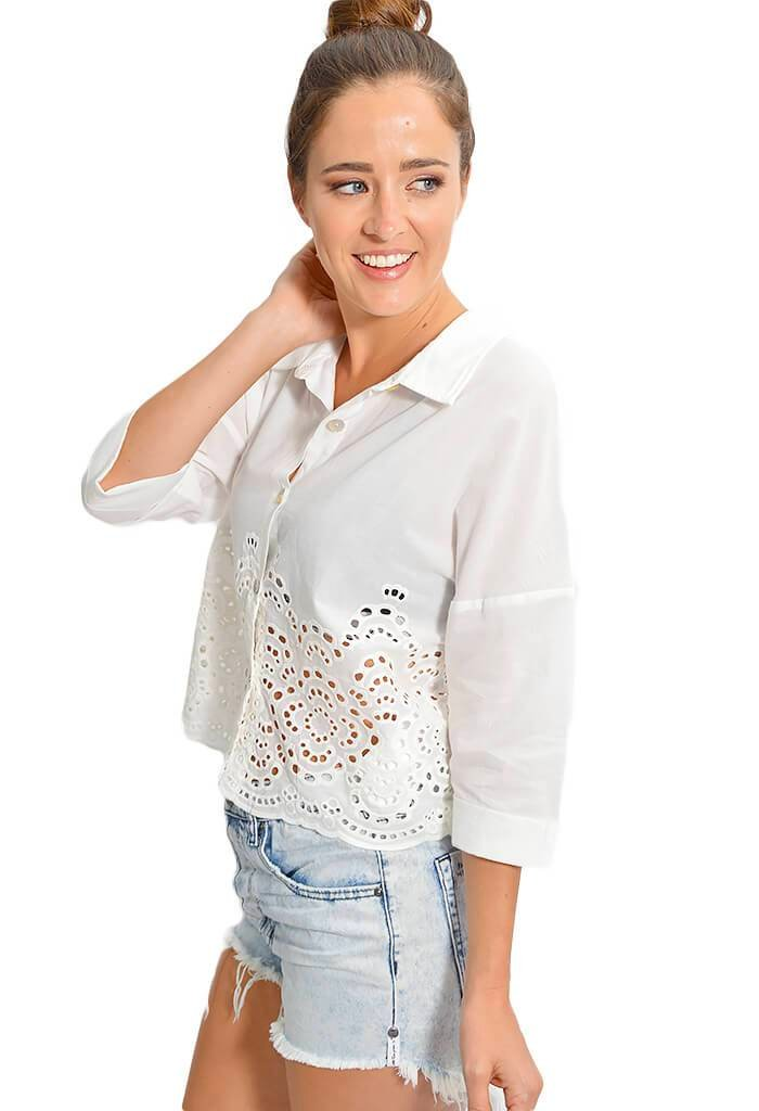 Minkpink Hazey Broidery Cropped Shirt - KK Bloom Boutique