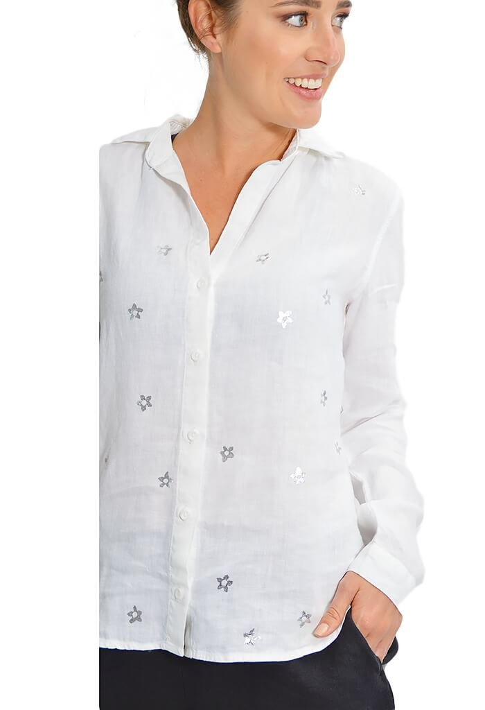 Bella Dahl Metallic Stamp Button Down - KK Bloom Boutique