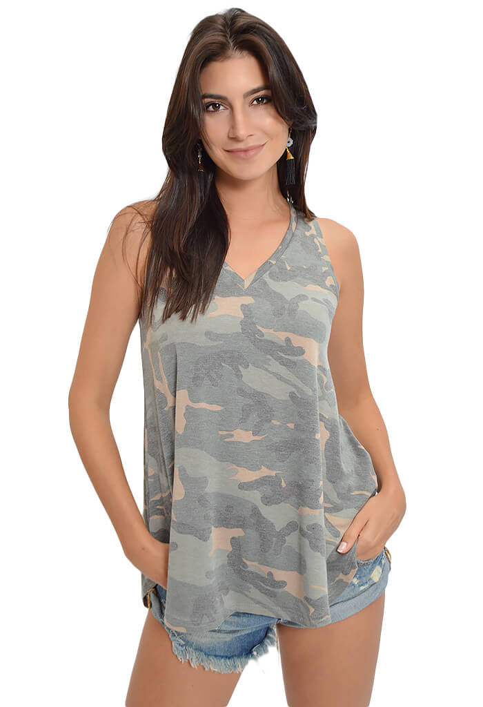 Peach Love Vintage Camo Tank-front