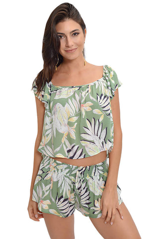 Shady Fronds Shirred Short