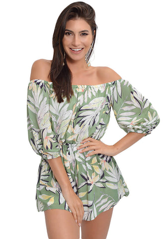 Shady Fronds Off-Shoulder Playsuit