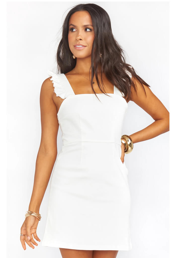 Ruthie Ruffle Dress-Pearly White