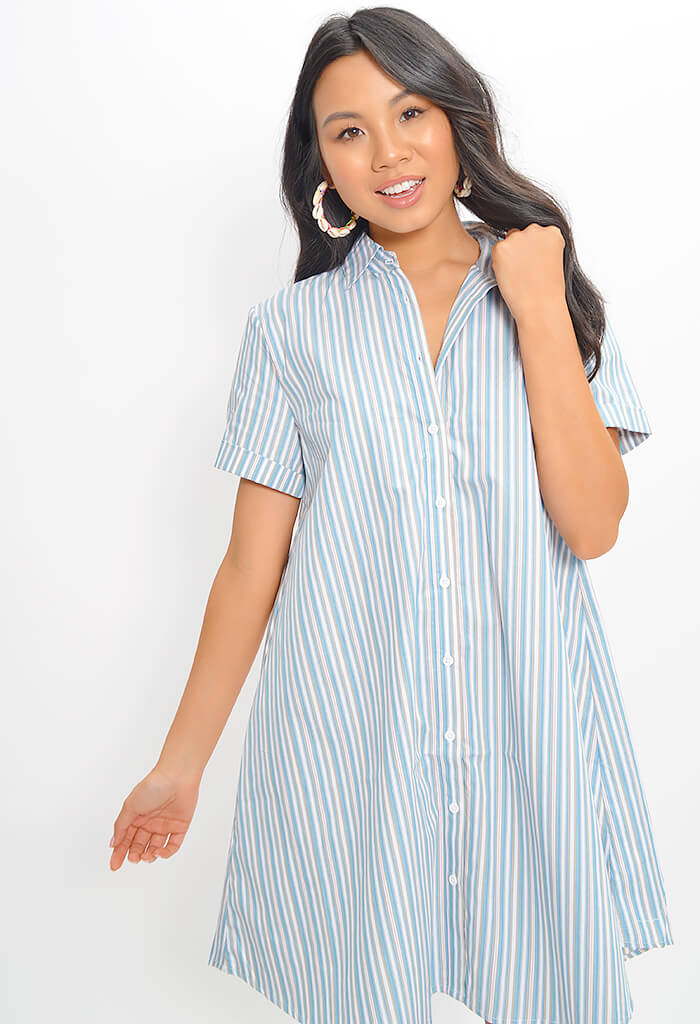 Stripe A Personality Dress - Chambray
