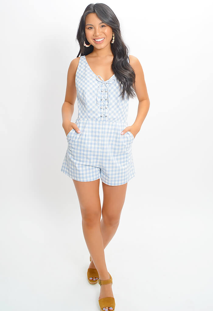 Check It Out Romper - Sky Blue