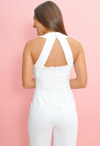 Just One Look Jumpsuit - Optic White