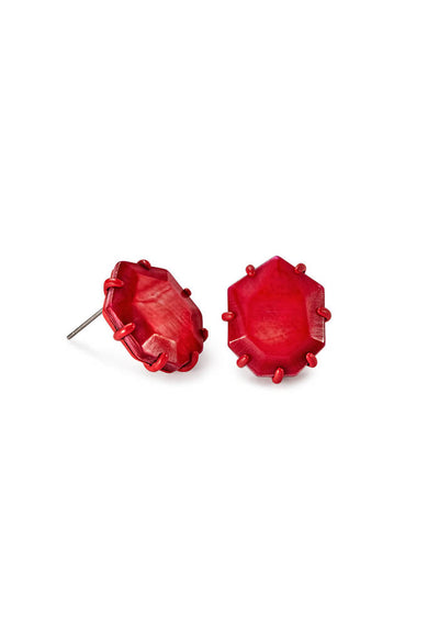 Morgan Matte Stud Earrings in Red Mother of Pearl