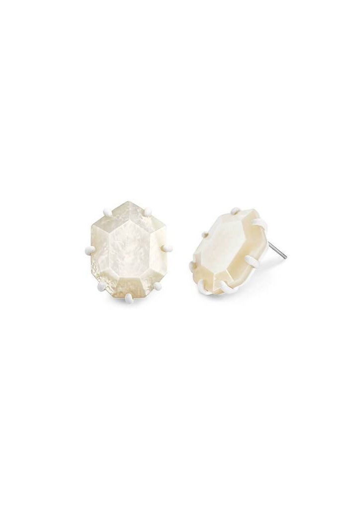 Morgan Matte Stud Earrings in Ivory Mother of Pearl
