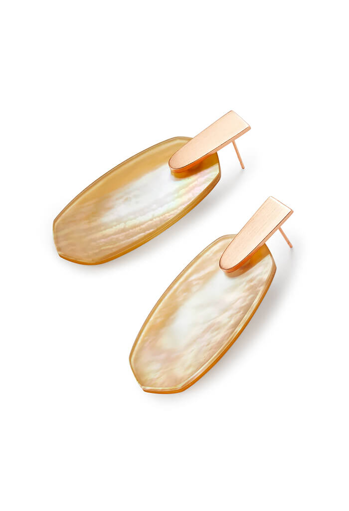 Aragon Rose Gold Statement Earrings in Brown Mother of Pearl