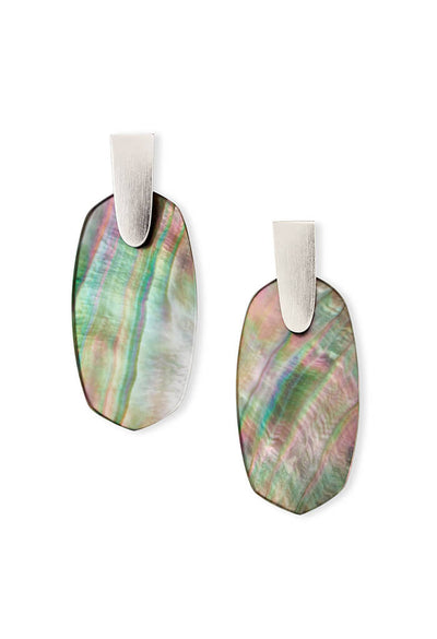 Kendra Scott Aragon Silver Statement Earrings in Black Mother of Pearl