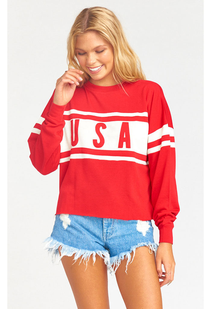Payton Crop Pullover ~ USA Graphic
