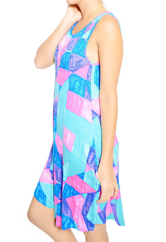Watercolor Prism Dress - Blue