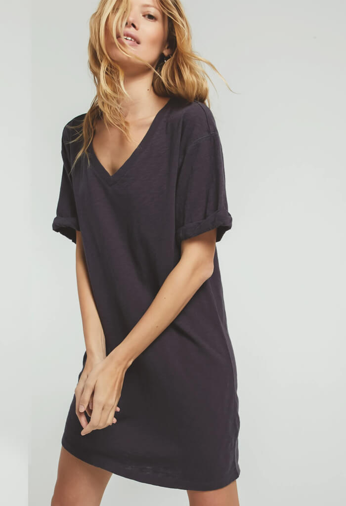Alani Slub Dress-Charcoal