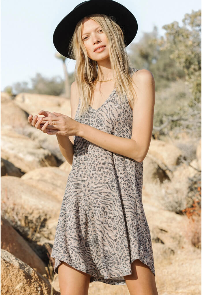 Breezy Animal Dress-Sand
