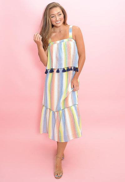Fruit Stripe Midi Dress