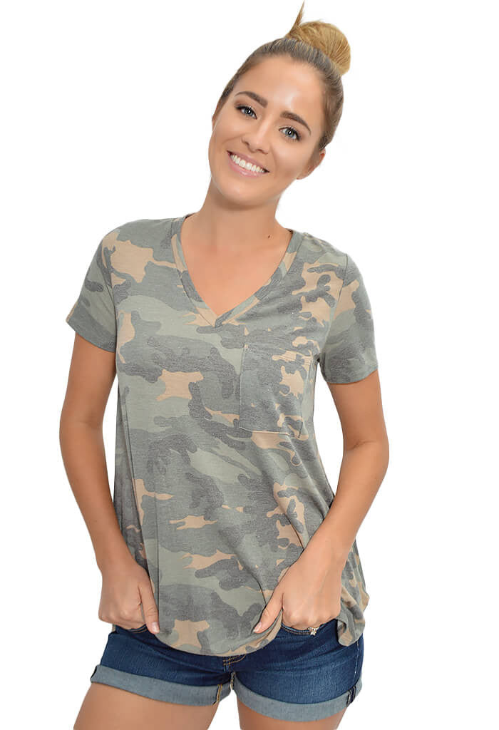 Peach Love Vintage Camo Tee-front