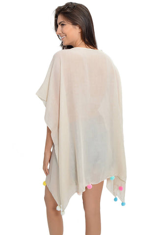 Palm Pom Party Tunic - Cream