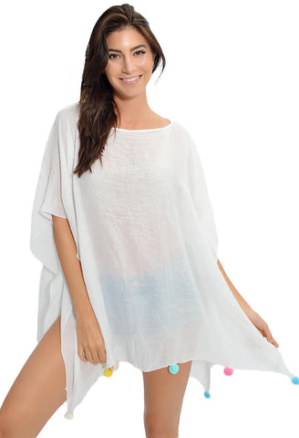 Palm Pom Party Tunic - White