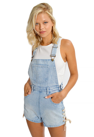 Southside Lace Up Mini Overalls