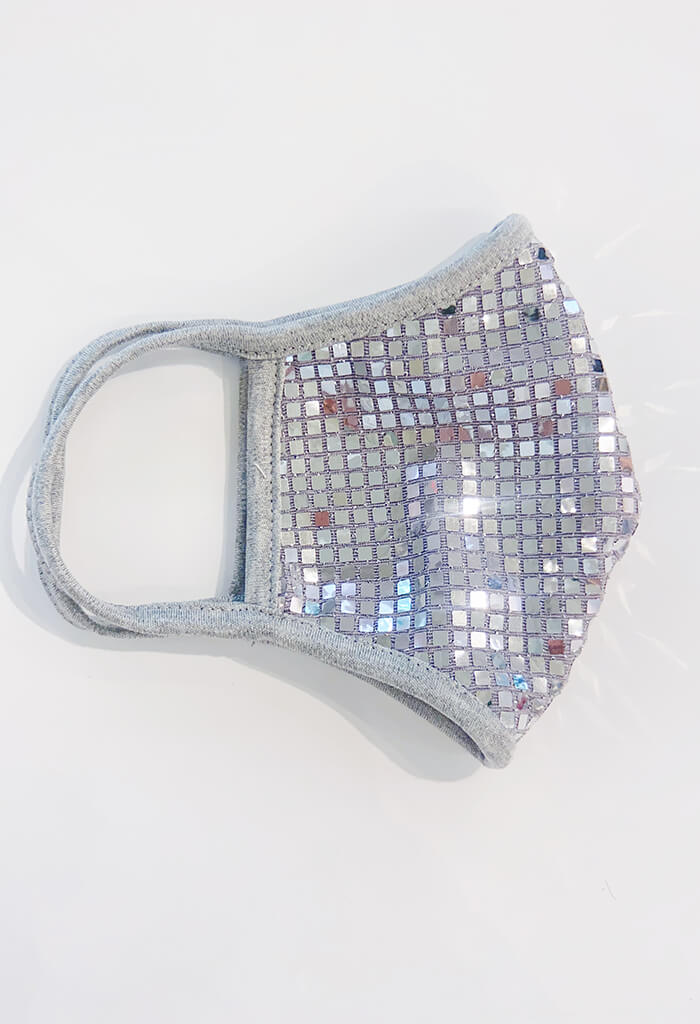 Square Bling Sequin Mask-Silver