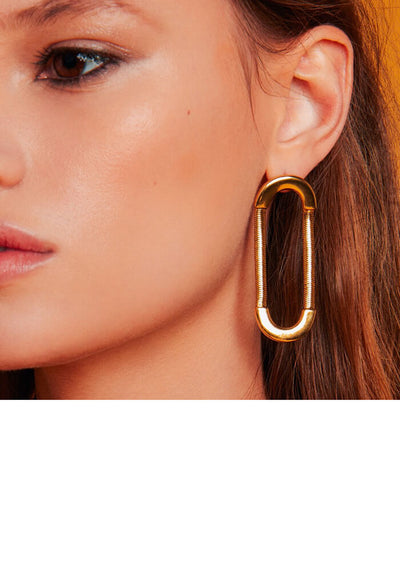 Snake Chain Loop Studs- Gold