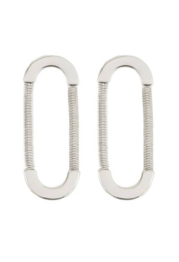 Snake Chain Loop Studs - Silver