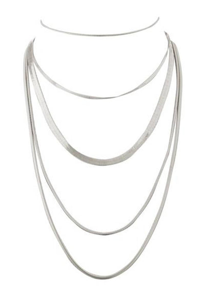 Cascading Snake Chain Necklace - Silver