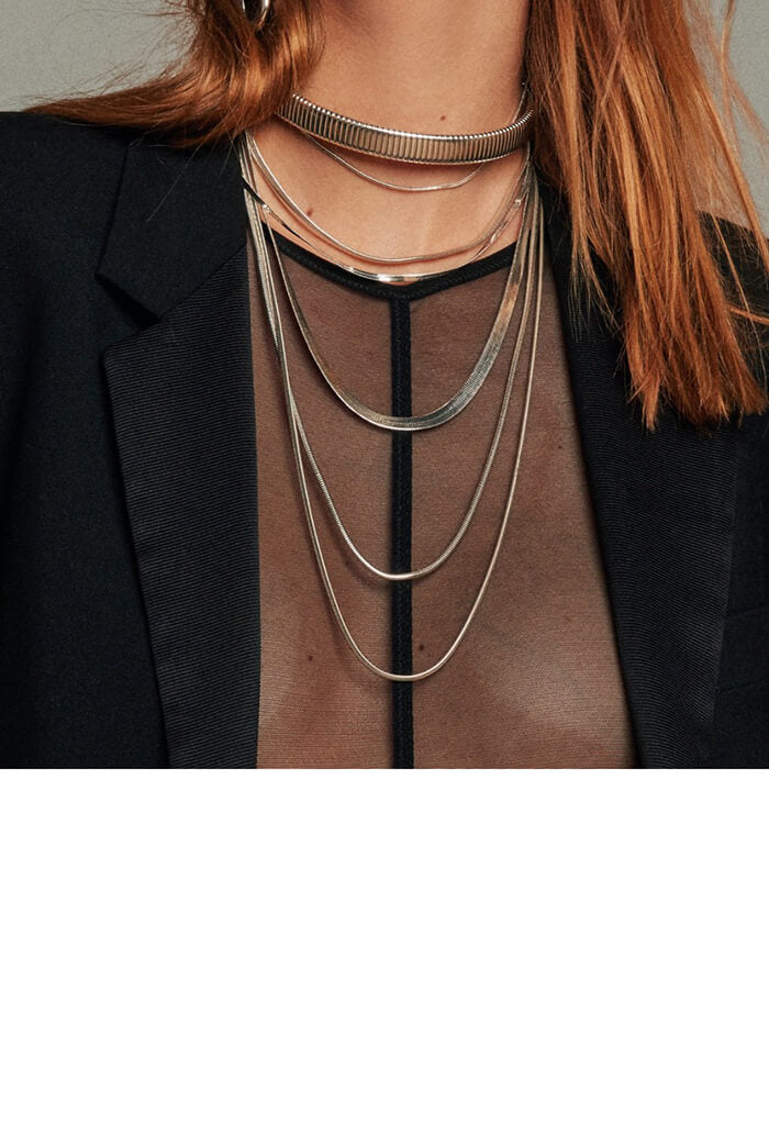 Cascading Snake Chain Necklace - Rose Gold