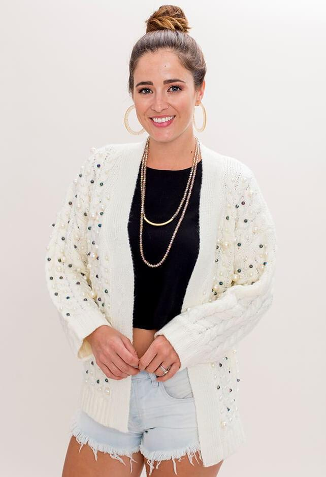 The Room Sea Pearl Party Cardigan - KK Bloom Boutique