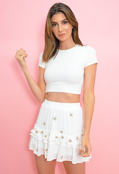 Star Glow Skirt-White