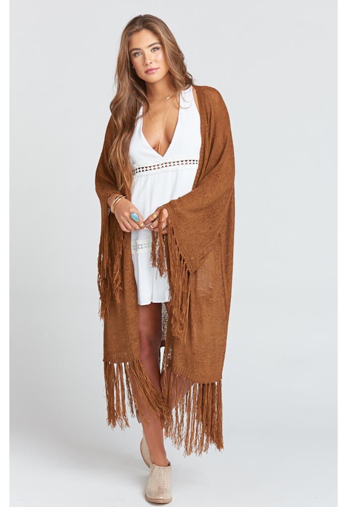 Jolene Fringe Cardigan - Brown Sugar Knit