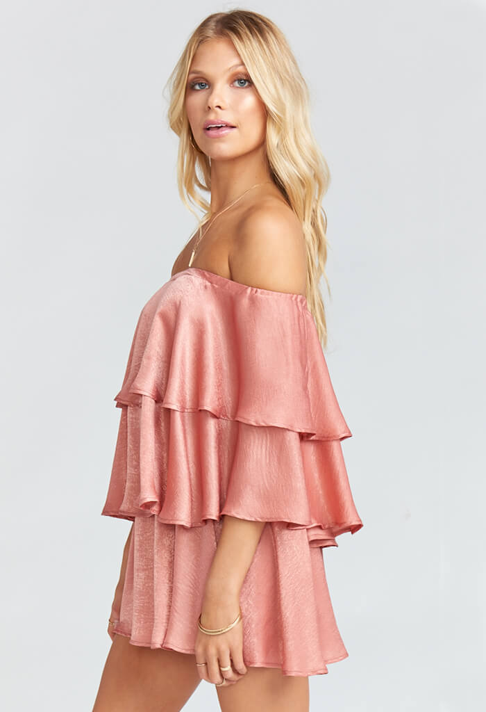 Triple Decker Romper - Rustic Mauve Sheen
